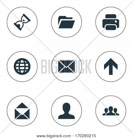 Set Of 9 Simple Practice Icons. Can Be Found Such Elements As Community, Printout, Web And Other.