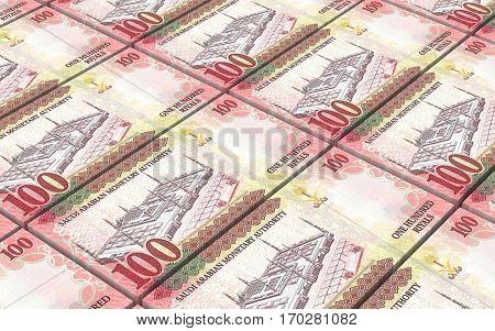 Saudi Arabia rials bills stacked background. 3D illustration.