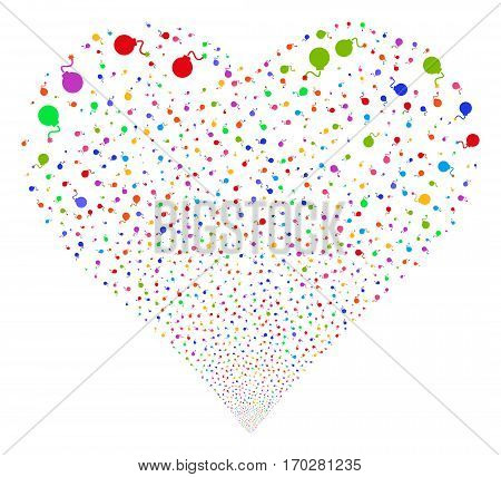 Bomb fireworks with heart shape. Vector illustration style is flat bright multicolored iconic symbols on a white background. Object stream created from random pictographs.