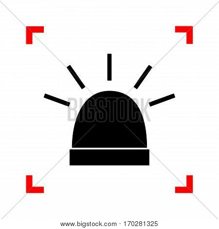 Police single sign. Black icon in focus corners on white background. Isolated.