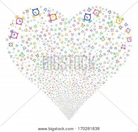 Buzzer fireworks with heart shape. Vector illustration style is flat bright multicolored iconic symbols on a white background. Object salute organized from random design elements.