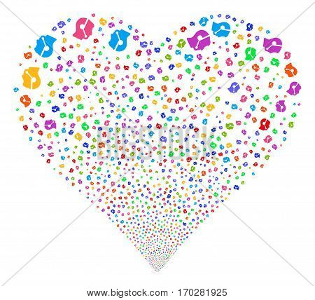 Call Center Operator fireworks with heart shape. Vector illustration style is flat bright multicolored iconic symbols on a white background. Object valentine heart combined from scattered symbols.