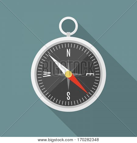 Isolated flat style silver compass with shadow illustration.