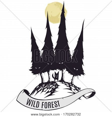 Wild forest with fox art dark style illustration