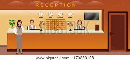 Hotel reception service. Three hotel employees welcome guests. Business office receptionists. Flat vector illustration.