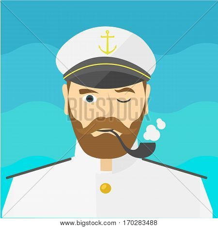 Portrait of the ship's captain. Flat design. Captain icon. Summer cruise. Sir. Vector illustration. Smile captain with a tube icon. Sea travel.