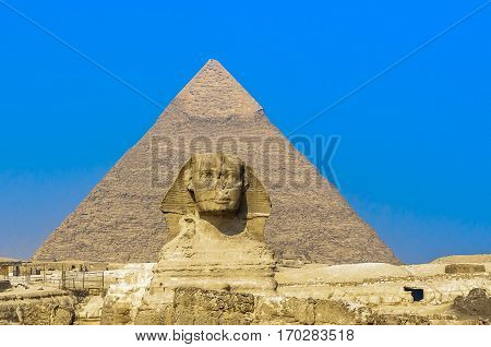 Sphinx and pyramids at Giza Cairo Egypt