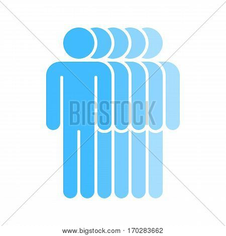 Use it in all your designs. Logotype in the form of five people standing with hands down painted in shades of blue color. Quick and easy recolorable graphic element in technique vector illustration