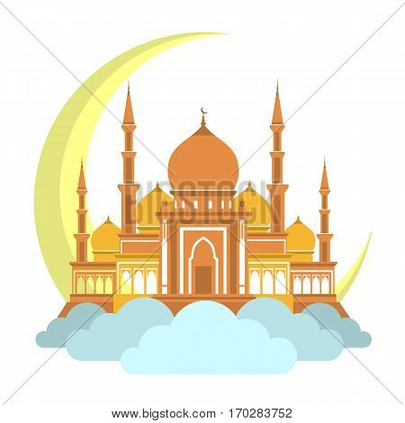 Muslim mosque on clouds with month icon. arabic mosque masjit. islam minarets flat logo. Vector flat cartoon design. Beautiful islamic temple icon illustration. Eastern islamic masjid fla logo.