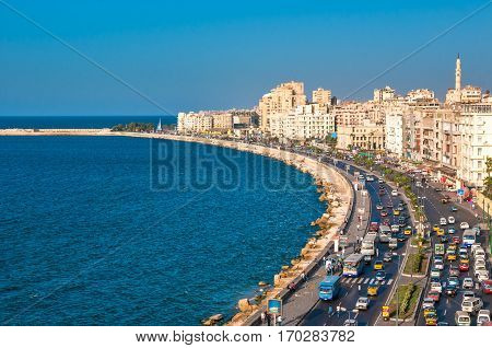 Panoramic view of Alexandria harbor in Egypt