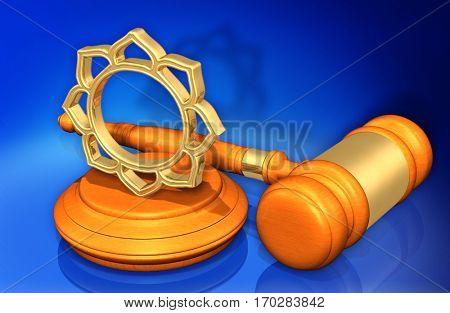Buddhism Law Gavel Concept 3D Illustration