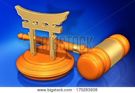 Shinto Law Gavel Concept 3D Illustration