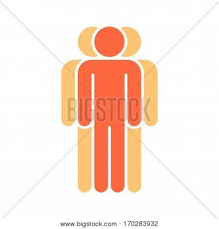 Use it in all your designs. Logotype in the form of three people standing with hands down painted in red, yellow color. Quick and easy recolorable graphic element in technique vector illustration