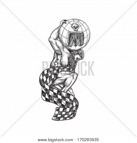 Tattoo style illustration of Atlas kneeling on one knee lifting globe with skull on his back draped with checkered racing flag set on isolated white background viewed from the side.