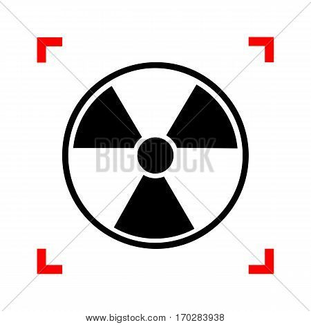 Radiation Round sign. Black icon in focus corners on white background. Isolated.