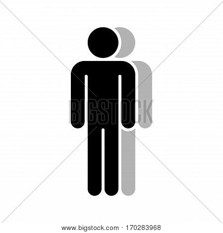 Use it in all your designs. Logotype in the form of two people standing with hands down painted in shades of black color. Quick and easy recolorable graphic element in technique vector illustration