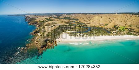 Kangaroo Island North Coast And Middle River Aerial Panorama. Snelling Beach, Kangaroo Island, South