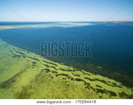 Bay Of Shoals Aerial View. Shallow Turquoise Ocean Water, Kangaroo Island, South Australia.