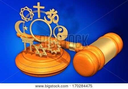 Religion Law Gavel Concept 3D Illustration