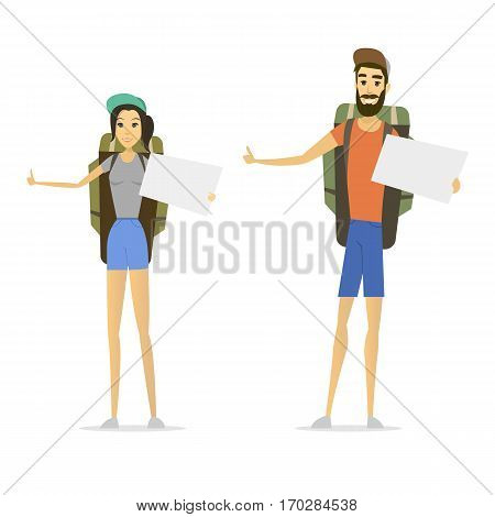 hitchhiker isolated. young woman and man. hitchhiking tourism. cartoon male and female. vector illustration in modern flat style. hitch hike traveler person design. road passenger.