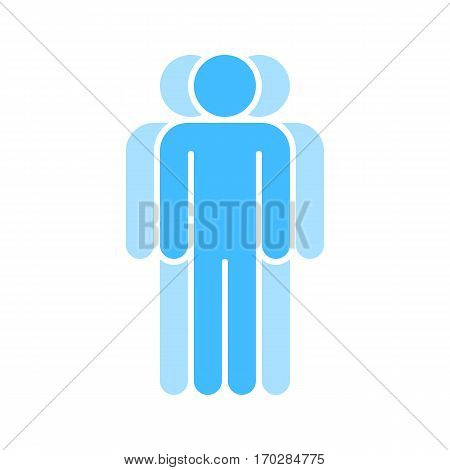 Use it in all your designs. Logotype in the form of three people standing with hands down painted in shades of blue color. Quick and easy recolorable graphic element in technique vector illustration