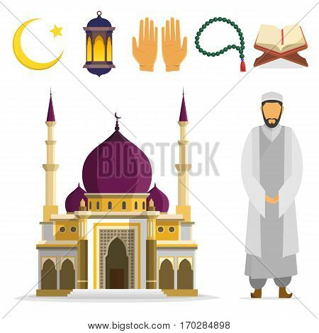 Set of Islamic religious symbols and ritual objects. Ramadan symbol. Muslim Mosque mullah, an Islamic star and crescent, lantern, palms, Koran, beads. vector flat cartoon design. islam culture icons.
