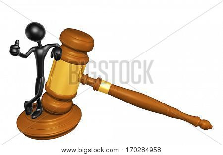 The Original 3D Character Illustration Law Gavel Concept
