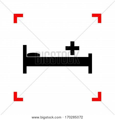 Hospital sign illustration. Black icon in focus corners on white background. Isolated.