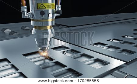 laser cut machine and perforated metal plate 3d rendering image