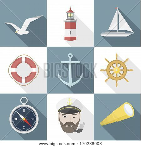 Set of sea flat icon objects with shadows. EPS8, modern design elements, summer rest, sailing on the seas. vector illustration