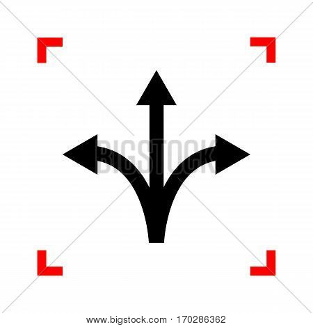 Three-way direction arrow sign. Black icon in focus corners on white background. Isolated.