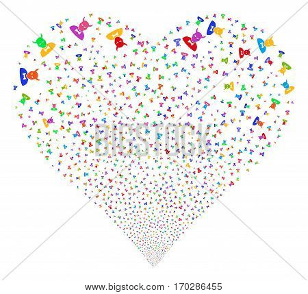 Devil fireworks with heart shape. Vector illustration style is flat bright multicolored iconic symbols on a white background. Object heart created from scattered design elements.