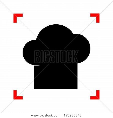 Chef cap sign. Black icon in focus corners on white background. Isolated.