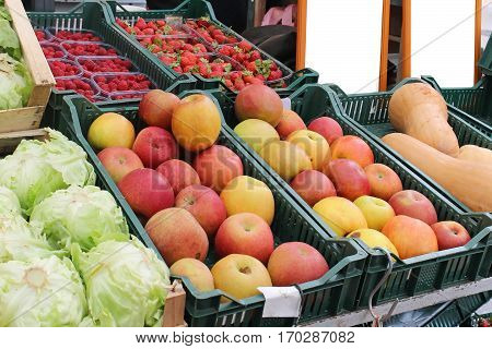Fresh organic apples in crates sold on market
