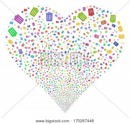 Dustbin fireworks with heart shape. Vector illustration style is flat bright multicolored iconic symbols on a white background. Object salute organized from confetti pictograms.