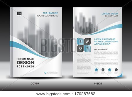 Annual report brochure flyer template, Blue cover design, business flyer template, book, magazine ads, booklet, vector illustration