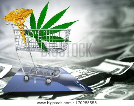 Marijuana leaf and caduceus in a cart. US dollars and credit card.  3D Render