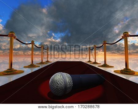 Microphone on red carpet.  3D Render