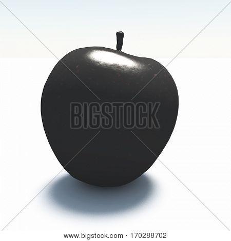 3d render. Apple made of black marble.
