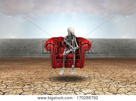 Alien's skeleton sits on red armchair.  3D Render