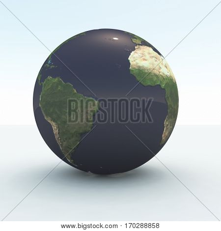 3d render. Globe. Some elements provided courtesy of NASA