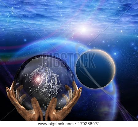 Surreal painting. Crystal ball in prophet hands. Deep space.  3D Render   Some elements provided courtesy of NASA