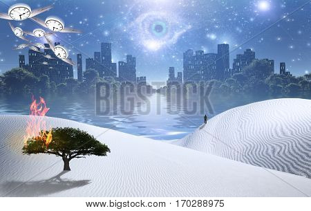 Burning tree on a sand dune. Figure of man in a distance. City in green forest at the horizon. God's eye in starry sky. 3D Render  Some elements provided courtesy of NASA