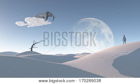 Elephant float on cloud in surreal landscape with observing man. 3D Render  Some elements provided courtesy of NASA