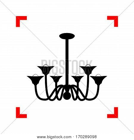 Chandelier simple sign. Black icon in focus corners on white background. Isolated.