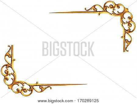 Pattern of gold metal frame isolated on white background -Clipping Path