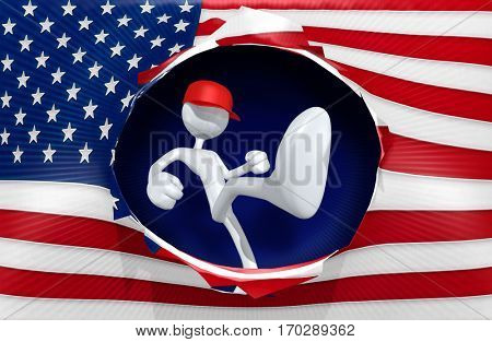 Red Cap Kicking The U.S. Flag 3D Illustration
