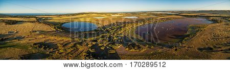 Aerial Panorama Of Discovery Lagoon Swamp At Sunset. Kangaroo Island, South Australia.
