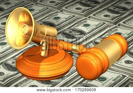 Bullhorn Legal Gavel Concept 3D Illustration