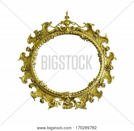 Antique golden ellipse frame isolated on white with clipping path